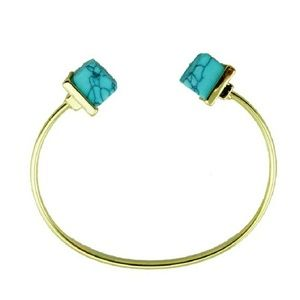 18kt YG Plated Marbled Turquoise Cuff Bracelet